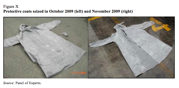 chemical protective suits, shipped through Dalian, 2009, destination Syria